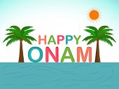 stock photo of onam festival  - Beautiful view of  coconut trees and river at evening background with colorful text Happy Onam - JPG