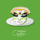 Illustration of South Indian cultural dance Kathakali, Dancer face on green background for Happy Ona