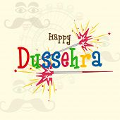 stock photo of dussehra  - Text of Happy Dussehra in comic colourful font with red and yellow crackers on a shadowed background with the image of funny faces and rounded colourful swing  - JPG