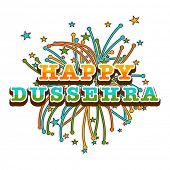 Beautiful poster of dussehra wishes with colourful stars and crackers.