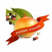 foto of bay leaf  - Realistic onion pepper and bay leaf good food kitchen ribbon badge vector illustration - JPG