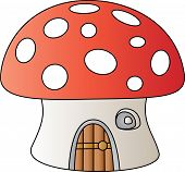 pic of fairy-mushroom  - A fairy tale mushroom house isolated on white - JPG