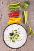 yogurt sauce and vegetables