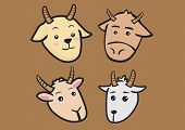 Cute Cartoon Goat Expressions Vector Illustration