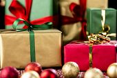Xmas Gifts in Red, Green and Gold