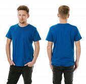 Man Posing With Blank Royal Blue Shirt