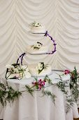pic of three tier  - Three Tier Wedding Cake Decorated with Calla Lilies - JPG