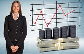 Businesswoman with barrels oil and money