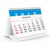 January 2015 desk calendar - vector illustration