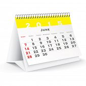 June 2015 desk calendar - vector illustration