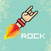 Постер, плакат: vector flat pixel rock n roll icon with fire
