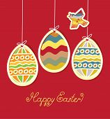 stock photo of nightingale  - Banner for Easter with three colored eggs and flying bird - JPG
