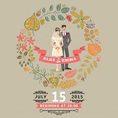Cute wedding invitation with bride , groom ,autumn leaves wreath