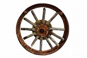 Cart Wheel Made Of Wood Isolated Background