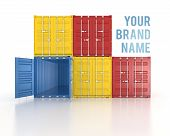 Your Name Colour Stacked Shipping Containers On White Background