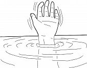 Outline Of Hand In Water