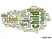 Vector eps concept or conceptual child abstract word cloud on white background