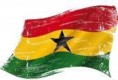 waving Ghanaian grunge flag. A grunge flag of Ghana in the wind flag for you