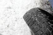 Closeup Of Snow Tire