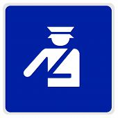 Road Sign - Blue - Police Officer