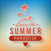 Retro Summer Holidays Poster With Badge. Vector Background