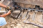 Fixing Bulldozer Wheel With Gas Cutting Torch