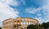 Pula Croatia Roman Time Arena Detail Unesco World Heritage Site.