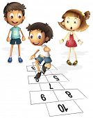 Illustration of children hopping on hopscotch