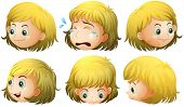 Illustration of a blonde girl with many expressions
