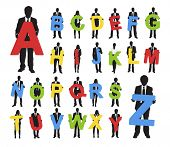 Vector of Business People Holding A-Z