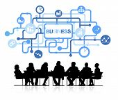 Silhouettes of Business People Meeting and Business Concept