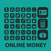 online money isolated icons, signs, symbols, illustrations set, vector