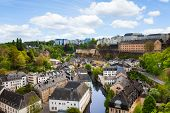 Luxemburg city view with houses on Alzette rive