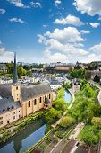 City view of Luxembourg with houses on Alzette