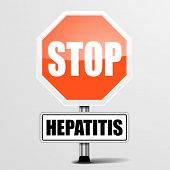 detailed illustration of a red stop hepatitis sign, eps10 vector