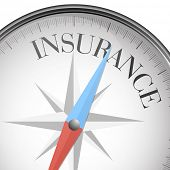detailed illustration of a compass with insurance text, eps10 vector