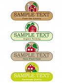 Farming and Produce Labels Template. Set of four labels for agricultural products and organic farming. Vector illustration, text on separate levels. Global color swatches for easy editing.