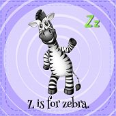 Illustration of an alphabet Z is for zebra