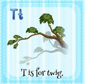 Illustration of an alphabet T is for twig