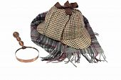 pic of glass-wool  - Deerstalker Hat Retro Magnifying Glass and Woolen Tartan Scarf Isolated on White - JPG
