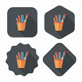 Pen Holder Flat Icon With Long Shadow,eps10
