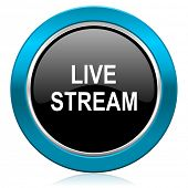 live stream glossy icon