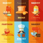picture of cake-mixer  - Bakery mini poster set with premium goods bread daily fresh pastries isolated vector illustration - JPG