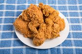 White Plate Of Fried Chicken On Blue Towel