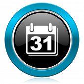 calendar glossy icon organizer sign agenda symbol