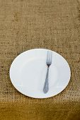 Place Setting With Plate And Fork Against Brown Plate Mat