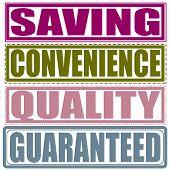 Saving,convenience,quality,guaranteed Stamp