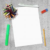 Blank paper, pen, pencils and erasure