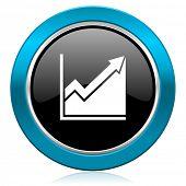 histogram glossy icon stock sign