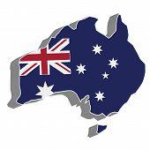 3D vector flag map of Australia.